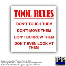 Tool Rules-Red/White-87x87mm-Sticker,Sign,Notice,Warning,Joke,Trade,Work,Box